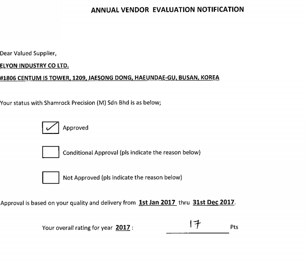 ANNUAL VENDOR EVALUATION